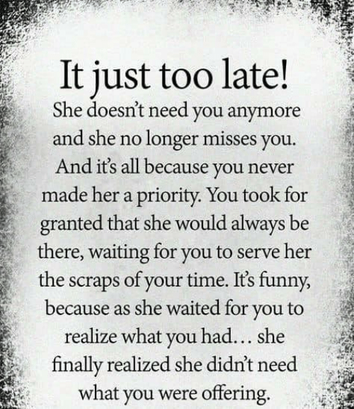 Funny, Memes, and Time: It just too late!  She doesn't need you anymore  and she no longer misses you.  And its all because you never  made her a priority. You took for  granted that she would always be  there, waiting for you to serve her  the scraps of your time. Its funny,  because as she waited for you to  realize what you had... she  finally realized she didn't need  what you were offering.