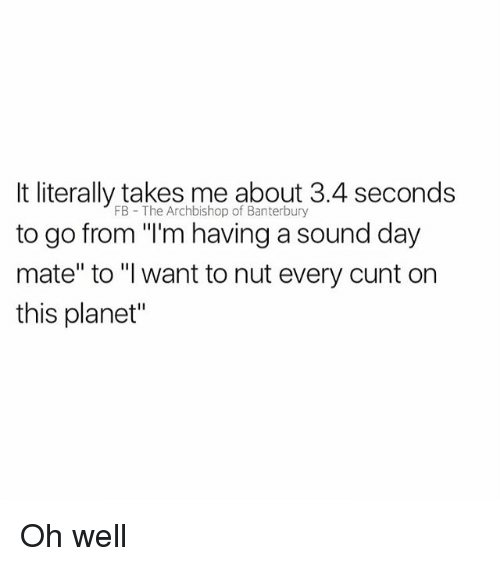"Cunt, British, and Oh Well: It literally takes me about 3.4 seconds  to go from ""'m having a sound day  mate"" to ""I want to nut every cunt on  this planet""  FB The Archbishop of Banterbury Oh well"