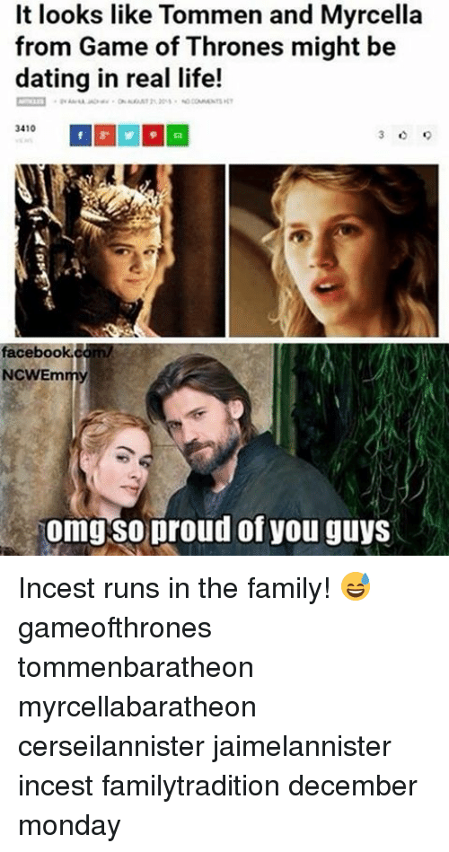 Memes, 🤖, and Games of Thrones: It looks like Tommen and Myrcella  from Game of Thrones might be  dating in real life!  3410  facebook  NCWEm  omg so proud of you guys Incest runs in the family! 😅 gameofthrones tommenbaratheon myrcellabaratheon cerseilannister jaimelannister incest familytradition december monday