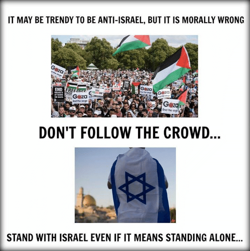 Being Alone, Memes, and Israel: IT MAY BE TRENDY TO BE ANTI-ISRAEL, BUT IT IS MORALLY WRONG  G za  G z  End the siege  End the siege  DON'T FOLLOW THE CROWD  STAND WITH ISRAEL EVEN IF IT MEANS STANDING ALONE...