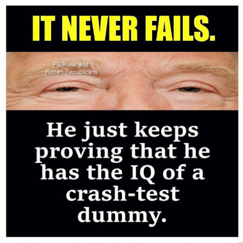 Test, Never, and Crash: IT NEVER FAILS  BRude and  Rotten Republicans  He just keeps  proving that he  has the IQ of a  crash-test  dummy.