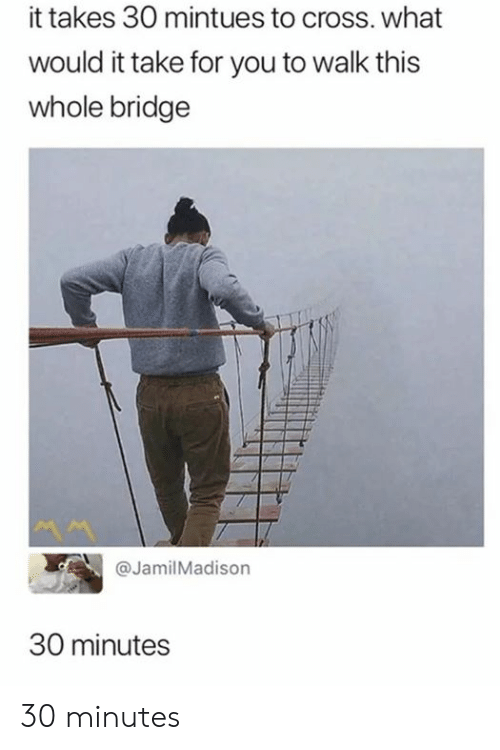 Memes, Cross, and 🤖: it takes 30 mintues to cross. what  would it take for you to walk this  whole bridge  @Jamil Madison  30 minutes 30 minutes