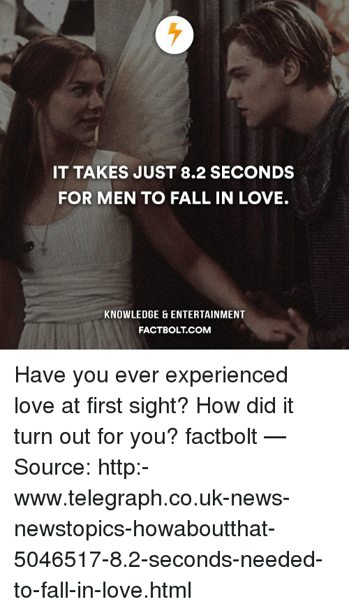 Memes, Telegraph, and At First Sight: IT TAKES JUST 8.2 SECONDS  FOR MEN TO FALL IN LOVE.  KNOWLEDGE ENTERTAINMENT  FACTBOLT COM Have you ever experienced love at first sight? How did it turn out for you? factbolt — Source: http:-www.telegraph.co.uk-news-newstopics-howaboutthat-5046517-8.2-seconds-needed-to-fall-in-love.html