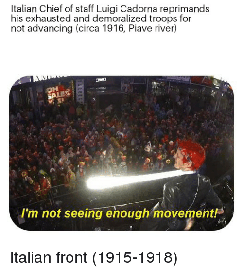 River, Luigi, and Staff: Italian Chief of staff Luigi Cadorna reprimands  his exhausted and demoralized troops for  not advancing (circa 1916, Piave river)  I'm not seeing ehough movement