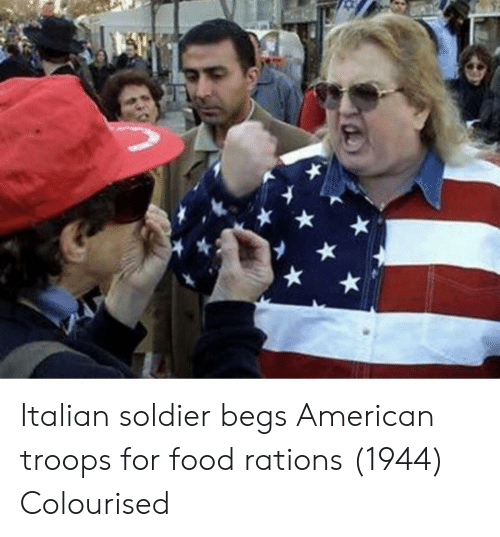 Food, American, and Soldier: Italian soldier begs American troops for food rations (1944) Colourised