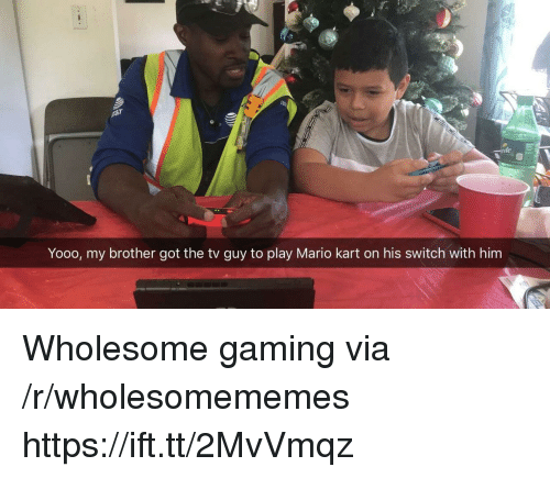 Mario Kart, Mario, and Wholesome: ite  Yooo, my brother got the tv guy to play Mario kart on his switch with him Wholesome gaming via /r/wholesomememes https://ift.tt/2MvVmqz