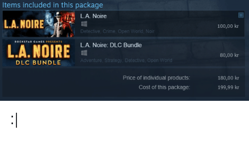 Items Included in This Package LA Noire LANOIRE Nr 10000 Kr