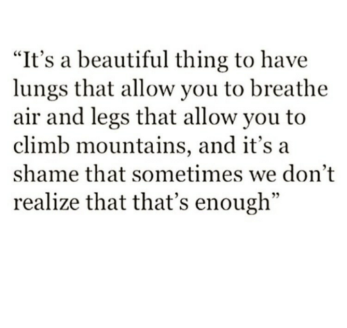 """Beautiful, Air, and Shame: """"It's a beautiful thing to have  lungs that allow you to breathe  air and legs that allow you to  climb mountains, and it's a  shame that sometimes we don't  realize that that's enough"""""""