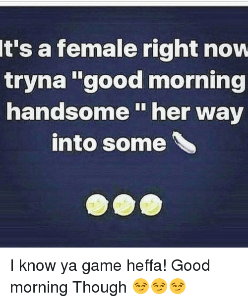 Its A Female Right Now Tryna Good Morning Handsome Her Way Into