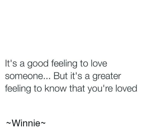 Dank, Love, and Good: It's a good feeling to love  someone... But it's a greater  feeling to know that you're loved ~Winnie~