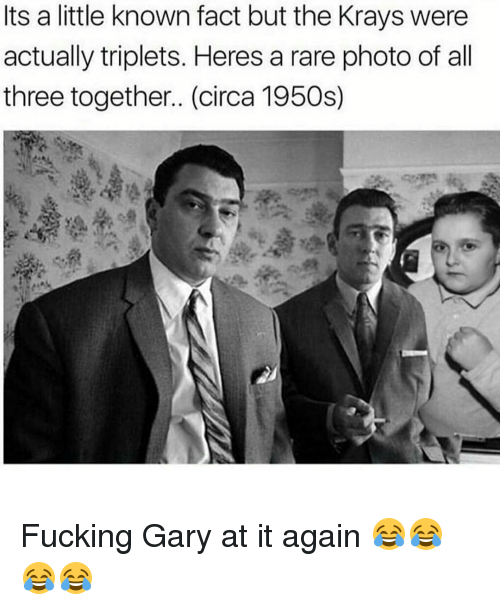 Fucking, Memes, and 🤖: Its a little known fact but the Krays were  actually triplets. Heres a rare photo of all  three together.. (circa 1950s) Fucking Gary at it again 😂😂😂😂