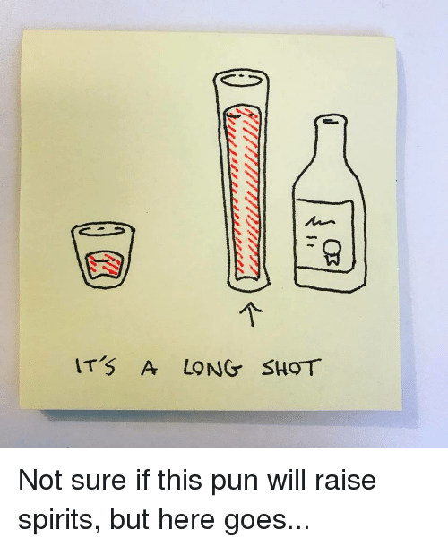 Puns, Punny, and Not Sure If: ITS A LONG SHOT Not sure if this pun will raise spirits, but here goes...