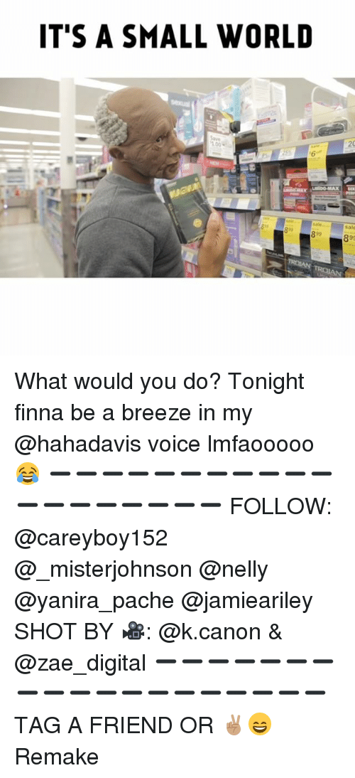 Anaconda, Memes, and Nelly: IT'S A SMALL WORLD  100  sale  92 What would you do? Tonight finna be a breeze in my @hahadavis voice lmfaooooo 😂 ➖➖➖➖➖➖➖➖➖➖➖➖➖➖➖➖➖➖➖ FOLLOW: @careyboy152 @_misterjohnson @nelly @yanira_pache @jamieariley SHOT BY 🎥: @k.canon & @zae_digital ➖➖➖➖➖➖➖➖➖➖➖➖➖➖➖➖➖➖➖ TAG A FRIEND OR ✌🏽😄 Remake
