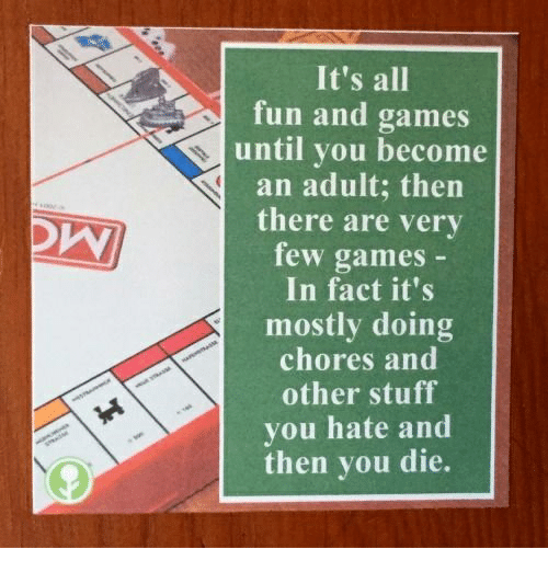 Games, Stuff, and Fun: It's all  fun and games  until you become  an adult; then  there are very  few games  In fact it's  mostly doing  chores and  other stuff  you hate and  then you die.
