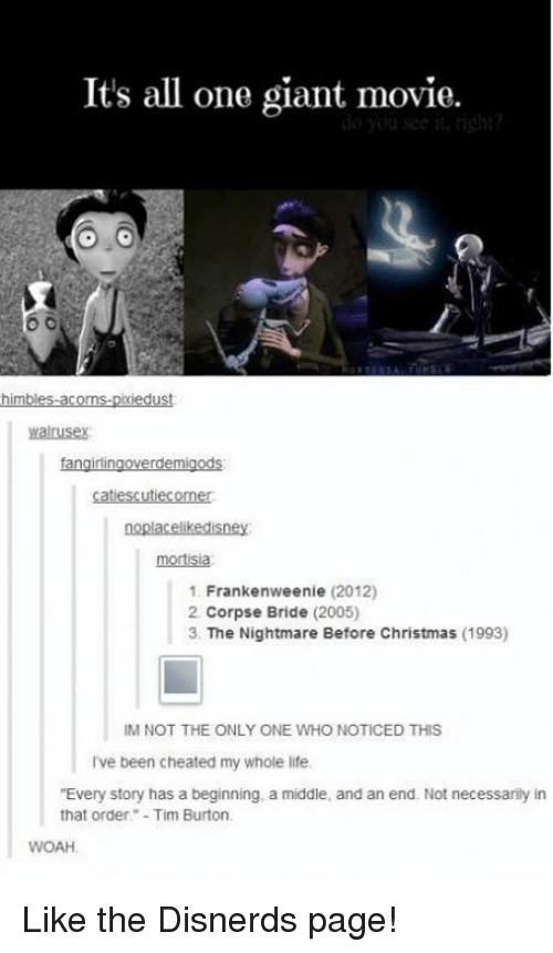 cheating christmas and funny its all one giant movie himbles acorns biedust - Nightmare Before Christmas Theory