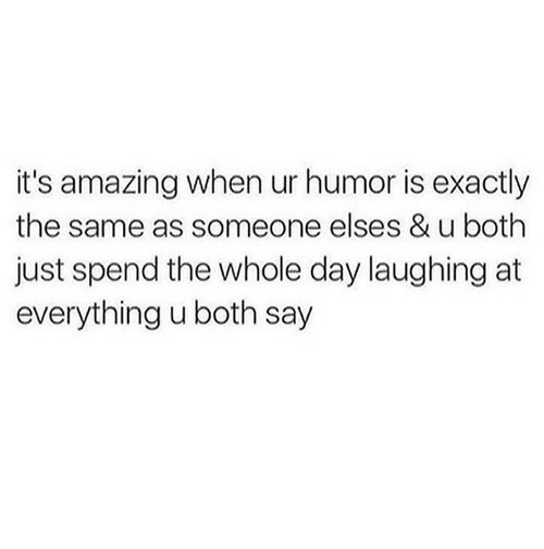 Amazing, Day, and Humor: it's amazing when ur humor is exactly  the same as someone elses & u both  just spend the whole day laughing at  everything u both say
