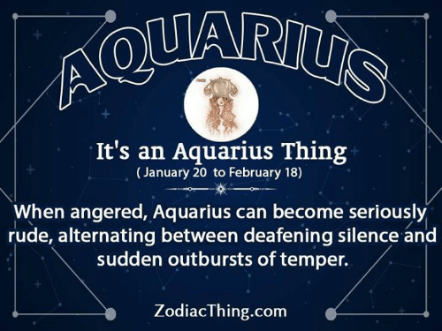 Rude, Aquarius, and Silence: It's an Aquarius Thing  (January 20 to February 18)  When angered, Aquarius can become seriously  rude, alternating between deafening silence and  sudden outbursts of temper.  ZodiacThing.com
