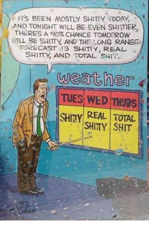 Shit, Today, and Weather: ITS BEEN MOSTLY SHITTY TODAY,  AND TONIGHT WILL BE EVEN SHITTIER  THERES A 90% CHANCE TOMOROW  MLL BE SHITTY AND THE LONG RANGG  FORE CAST IS SHITY, REAL  SHITTY, AND TOTAL SH  weather  H REAL TOTAL  SHITTY SHIT
