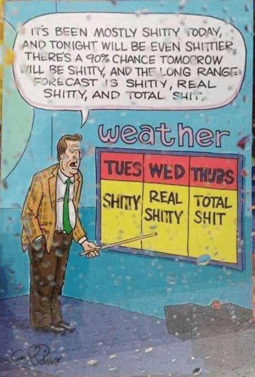 Shit, Today, and Weather: ITS BEEN MOSTLY SHITTY TODAY,  AND TONIGHT WILL BE EVEN SHITTIER  THERES A 90% CHANCE TOMOROW  ILL BE SHITTY AND THE LONG RANGE  FORE CAST IS SHITTY, REAL  SHITTY, AND TOTAL SHI  weather  TUES WEDTHURS  REAL TOTAL  SHITY  SHITY SHIT