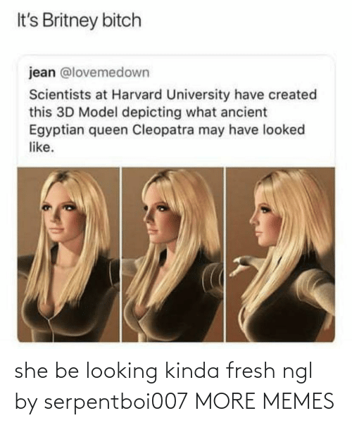 Dank, Fresh, and Memes: It's Britney bitch  jean @lovemedown  Scientists at Harvard University have created  this 3D Model depicting what ancient  Egyptian queen Cleopatra may have looked  like. she be looking kinda fresh ngl by serpentboi007 MORE MEMES