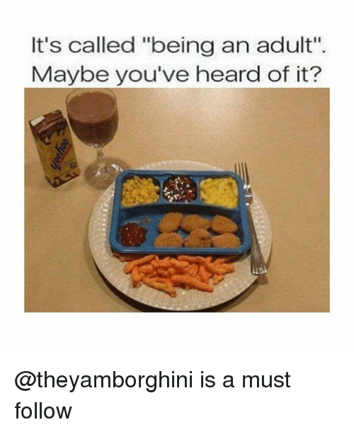 """Being an Adult, Dank Memes, and Adult: It's called """"being an adult"""".  Maybe you've heard of it? @theyamborghini is a must follow"""