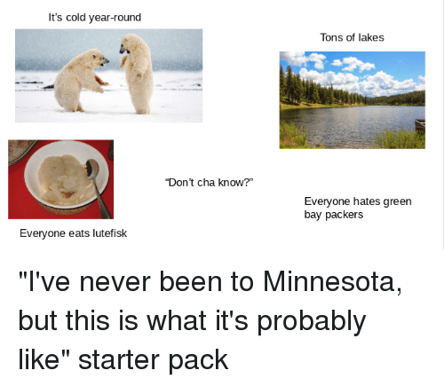 "Green Bay Packers, Starter Packs, and Minnesota: It's cold year-round  Tons of lakes  ""Don't cha know?""  Everyone hates green  bay packers  Everyone eats lutefisk"