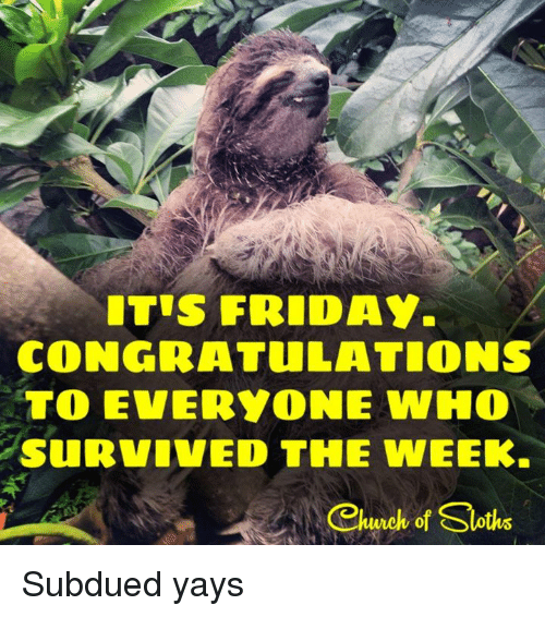 I Survived Friday >> Its Friday Congratulations To Everyone Who Survived The Week Church