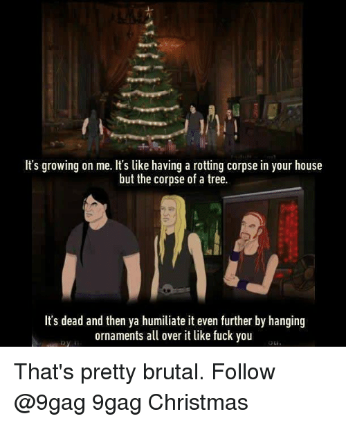 9gag, Christmas, and Fuck You: It's growing on me. It's like having a rotting corpse in your house  but the corpse of a tree.  It's dead and then ya humiliate it even further by hanging  ornaments a over it like fuck you That's pretty brutal. Follow @9gag 9gag Christmas