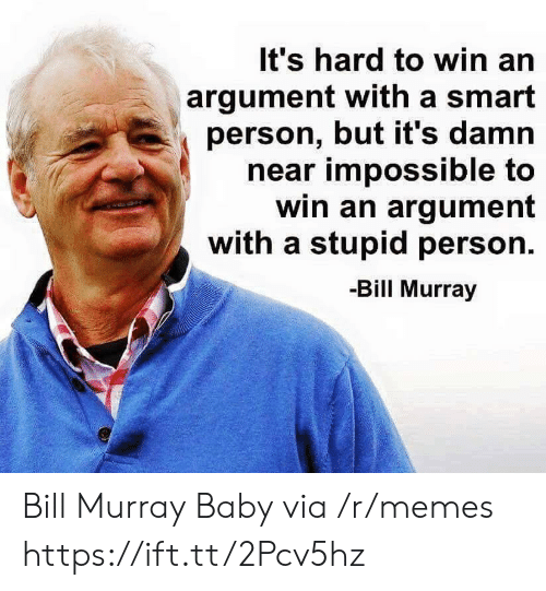 Memes, Bill Murray, and Baby: It's hard to win an  argument with a smart  person, but it's damn  near impossible to  win an argument  with a stupid person.  -Bill Murray Bill Murray Baby via /r/memes https://ift.tt/2Pcv5hz