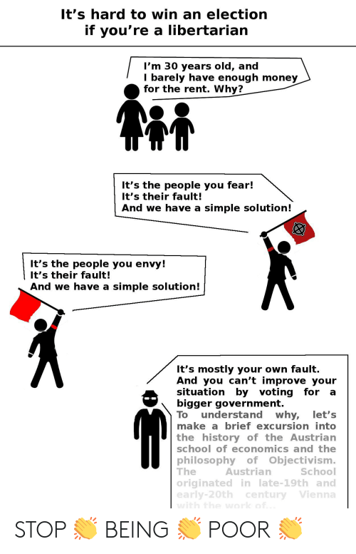 Money, School, and Work: It's hard to win an election  if you're a libertarian  I'm 30 years old, and  I barely have enough money  for the rent. Why?  It's the people you fear!  It's their fault!  And we have a  simple solution!  It's the people you envy!  It's their fault!  And we have a  simple solution!  It's mostly your own fault.  And you can't improvee your  situation by voting for  bigger government.  understand  why,  brief excursion into  let's  To  make a  the history of the Austrian  school of economics and the  philosophy of Objectivism.  Austrian  The  School  originatedin late-19th and  early-20th century Vienna  with the work of. STOP 👏 BEING 👏 POOR 👏