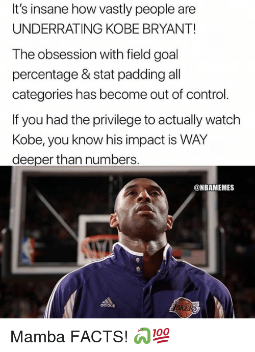 Facts, Kobe Bryant, and Nba: It's insane how vastly people are  UNDERRATING KOBE BRYANT!  The obsession with field goal  percentage & stat padding all  categories has become out of control.  If you had the privilege to actually watch  Kobe, you know his impact is WAY  deeper than numbers  @NBAMEMES  adidos Mamba FACTS! 🐍💯