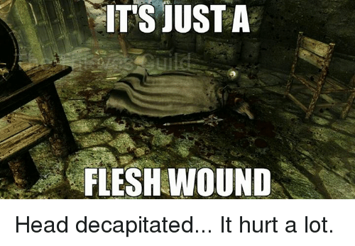 its just a flesh wound head decapitated it hurt a 16187198 ✅ 25 best memes about just a flesh wound just a flesh wound memes