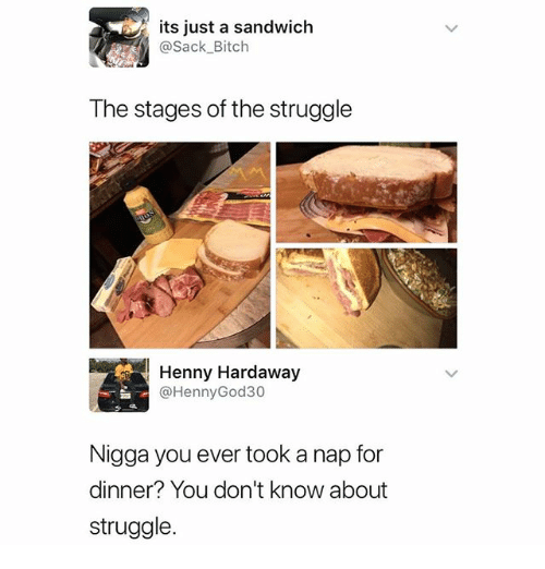 Bitch, Memes, and Struggle: its just a sandwich  @Sack_Bitch  The stages of the struggle  Henny Hardaway  @HennyGod30  Nigga you ever took a nap for  dinner? You don't know about  struggle.
