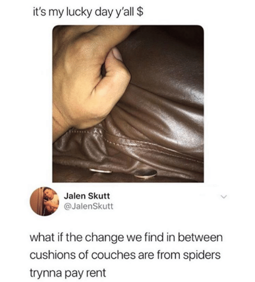 Funny, Tumblr, and Spiders: it's my lucky day y'all $  Jalen Skutt  @JalenSkutt  what if the change we find in between  cushions of couches are from spiders  trynna pay rent
