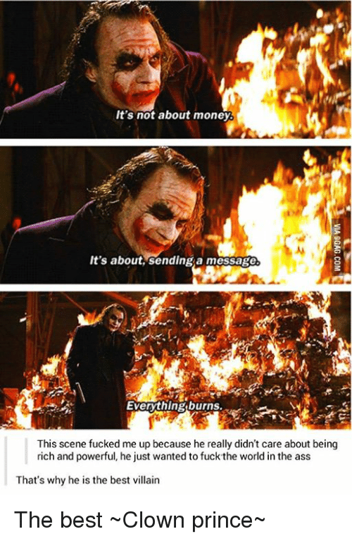Image result for joker burning money its not about the money about sending a message