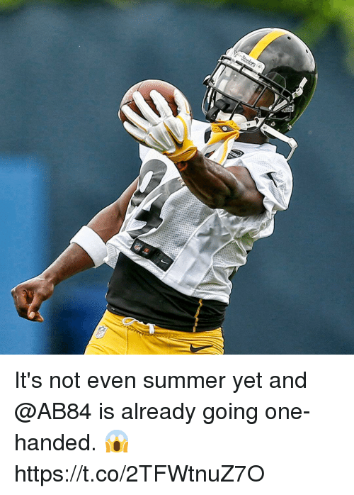 Memes, Summer, and 🤖: It's not even summer yet and @AB84 is already going one-handed. 😱 https://t.co/2TFWtnuZ7O