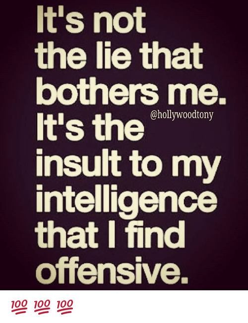 It S Not The Lie That Bothers Me It S The Insult To My Intelligence