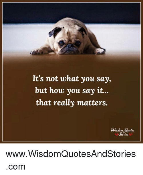 Its Not What You Say But How You Say It That Really Matters Wisdom