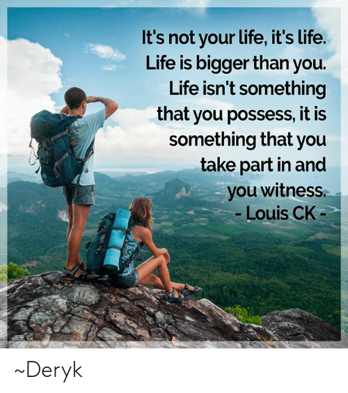 Life, Memes, and 🤖: It's not your life, it's Life.  Life is bigger than you.  Life isn't something  that you possess, it is  something that you  take part in and  you witness  -Louis CK ~Deryk
