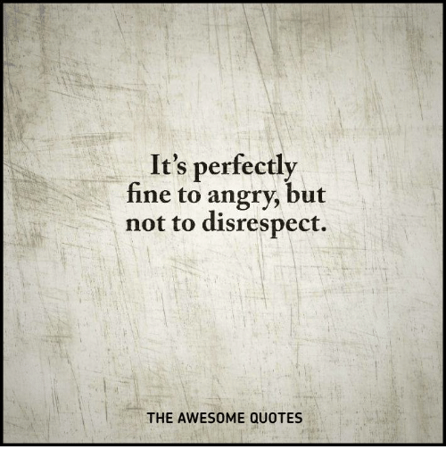 Its Perfectly Fine To Angry But Not To Disrespect The Awesome