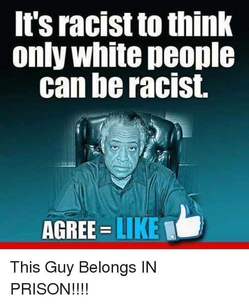 Memes, White People, and Prison: It's racist to think  only white people  can be racist.  AGREE LIKE This Guy Belongs IN PRISON!!!!