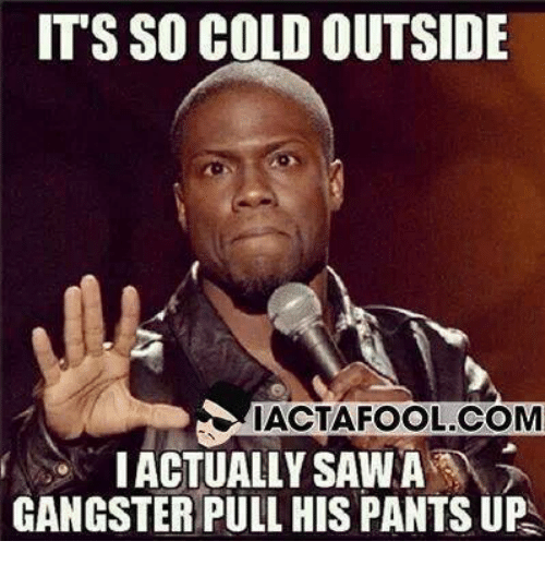 Memes, Cold, and 🤖: ITS SO COLD OUTSIDE  IACTAFOOL.COM  IACTUALLY SAWA  GANGSTER PULL HIS PANTS UP
