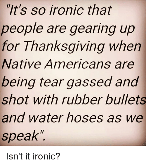 """Memes, Native American, and 🤖: """"It's so ironic that  people are gearing up  for Thanksgiving when  Native Americans are  being tear gassed and  shot with rubber bullets  and water hoses as we  speak Isn't it ironic?"""