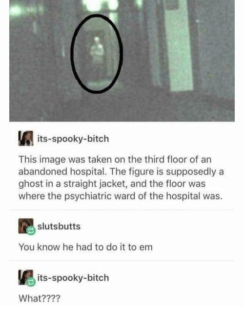 Bitch, Taken, and Ghost: its-spooky-bitch  This image was taken on the third floor of an  abandoned hospital. The figure is supposedly a  ghost in a straight jacket, and the floor was  where the psychiatric ward of the hospital was.  slutsbutts  You know he had to do it to em  its-spooky-bitch  What????