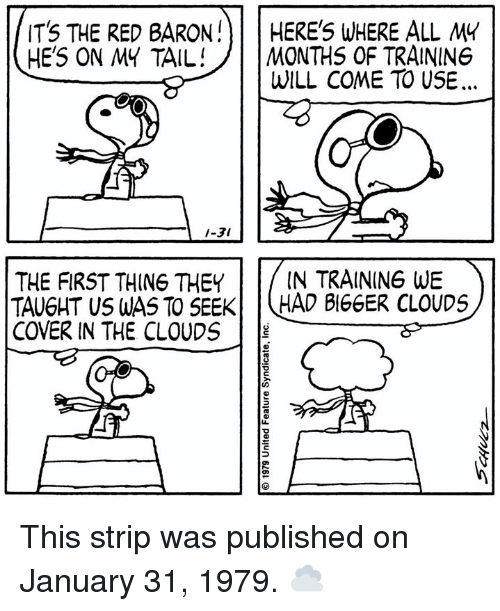 Memes, 🤖, and Red: ITS THE RED BARONHERE' WHERE ALL MY  HE'S ON MY TAIL! 1 MONTHS OF TRAININ6  WILL COME TO USE.  1-31  THE FIRST THING THEYIN TRAINING WE  TAUGHT US WAS TO SEEK HAD BIGGER CLOUDS  COVER IN THE CLOUDS This strip was published on January 31, 1979. ☁️