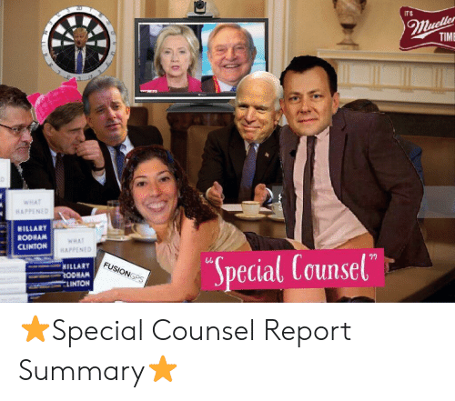 Time, Hillary Rodham Clinton, and Clinton: ITS  TIME  HAPPENED  HILLARY  RODHAM  CLINTON  WHAT  HAPPENED  Special Counsel  ๆๆ  HILLARY  ODHAN  SLINTON ⭐️Special Counsel Report Summary⭐️