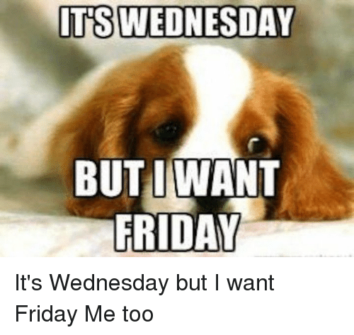 Friday, Memes, and Wednesday: ITS WEDNESDAY  BUTIWANT  FRIDAY It's Wednesday but I want Friday     Me too