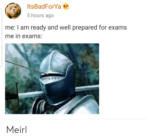 MeIRL, For, and Well: ItsBadForYa  5 hours ago  me: I am ready and well prepared for exams  me in exams: Meirl
