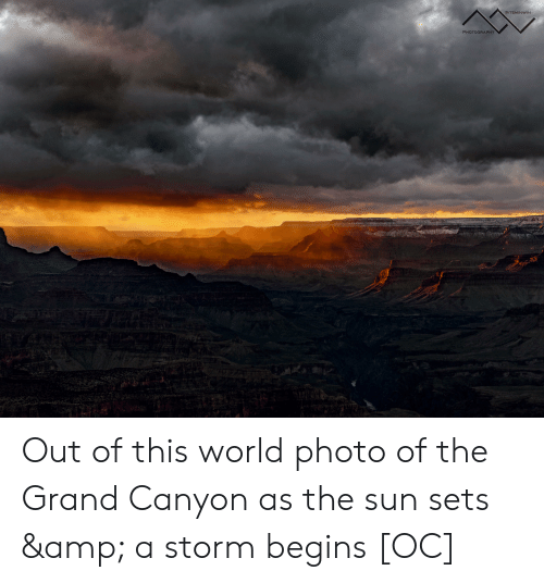 Photography, World, and Grand: @ITSMINWIN  PHOTOGRAPHY Out of this world photo of the Grand Canyon as the sun sets & a storm begins [OC]