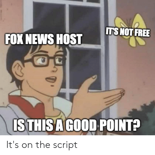 News, Politics, and Fox News: ITSNOT FREE  FOX NEWS HOST  IS THIS AGOOD POINT? It's on the script